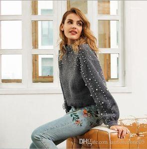Pearl chaud Pulls manches longues ras du cou Pull Mode Femme Vêtements Vêtements Casual Femmes Hiver Designer