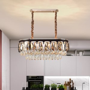 Leather crystal chandelier lighting for living room bedroom dining room new luxury contemporary led pendant lights adjustable hanging lamps