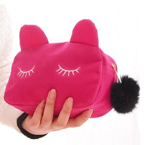 PURDORED 1 pc Portable Cartoon Cat cosmetic bag Coin Storage Case Travel Makeup Flannel Pouch makeup Bag Dropshipping