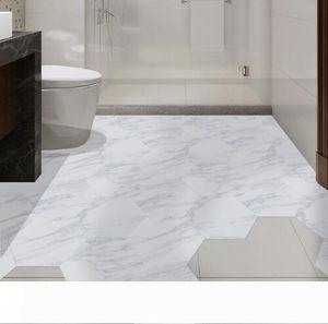 Waterproof Bathroom Floor Tile Sticker Adhesive PVC Marble Floor Decal Peel&Stick Sticker Non-Slip Home Entrance Decor