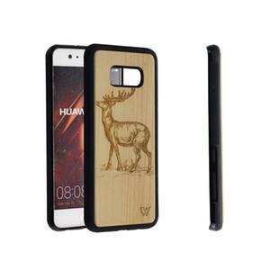 Amazon hot sale 2019 projeto dos cervos de madeira de bambu tampa da caixa do telefone celular para samsung s7 s8 s9 s10 s10 + nota 8 9