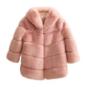 Casaco New Meninas Inverno Fur elegante espessura quente Baby Girl Faux Fur casacos casacos Parka crianças Casacos Roupa Crianças