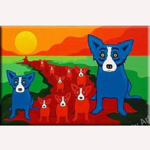 Pintado à mão HD Imprimir óleo abstrato colorido Modern Art Dog animal pintura Início Wall Decor em alta qualidade Thick Canvas multi Tamanhos A72