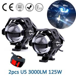 2pcs Motorcycle LED Headlight 125W 3000LM U5 Waterproof Driving Spot Head Lamp Fog Light Switch Motorcycle Accessories Bulbs