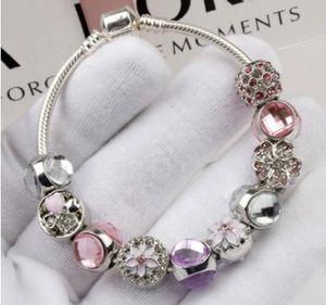 Moda 925 Sterling Silver Rosa Roxo Espumante Drops Flor Pulseira de Cristal Charme Europeu Beads Serve Para Pandora Charme Pulseiras Bangle