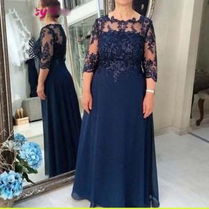 2020 Элегантный синий мама невесты платья плюс размер 3/4 рукава Аппликация Бисероплетение шифон Матери платья выполненного на заказ