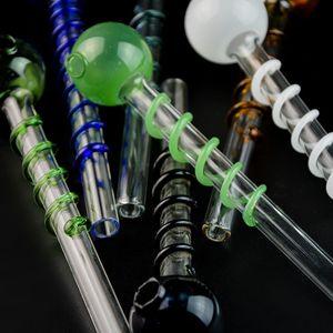 Pipes 14 centímetros de vidro Oil Burner Tubulação de tabaco Colher Cachimbo pirex de vidro do queimador de petróleo Tubulações Tubulações única, com decoração espiral para fumantes SW26