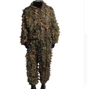 3D Maple Leaf Anzug Woodland Camouflage Sniper CS Tactical Clothing Komplettset Jacke und Hose Ghillie
