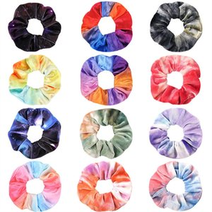 27Colors Kore Kadife Scrunchie Saç Bantları Elastik Tie-boyalı saç Halka Çember Kadınlar Kızlar Scrunchies at kuyruğu Tutucu Saç Aksesuarları Hediyeleri