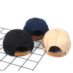 letter beret New men and women street trend breathable leather hats hot pure cotton pure color landlord hat