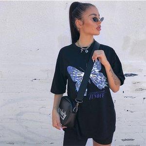 SUCHCUTE imprimé papillon femme été noir tee lâche t-shirt 2020 streetwear gothique, plus la taille des femmes fitness décontracté tenues