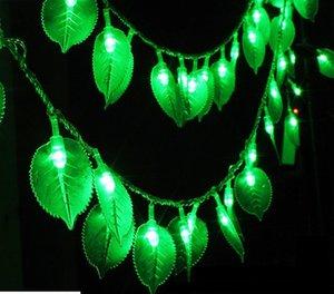 Iluminação de férias 10m 100led lâmpada 8 tipos de padrões de folhas verdes LED string luz interior e decoração ao ar livre euplug llfa