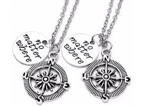 "10pair Compass Necklace Best Friends Pendant Necklace Fashion Men Women ""No matter where"" Couple Love Friendship Gift Jewelry Accessories"