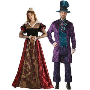 Mad Hat Kral aşınma çift aşınma çift elbise Kraliçe takım sahne dram performans elbise severler