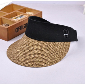 Summer Womens Clip on Straw Sun Visor Cappello a tesa larga con visiera larga