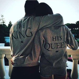 Nova rainha do rei Crown Imprimir Unisex Homens Mulheres Autumn Hoodies Magro Camisola para Casal amantes do inverno dos retalhos moletom bordado