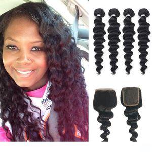 A Brazilian Mongolian Indian Malaysian Peruvian Virgin Human Hair Loose Wave 4 5 Bundles With Closure Loose Deep Weave With Closure
