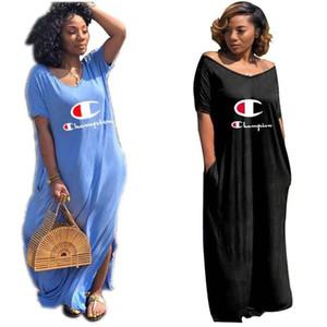 Campeão mulheres one piece dress manga curta verão saia designer dress maxi-vestidos de alta qualidade solto dress elegante clubwear de luxo 938