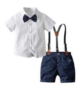 Cross border summer men's and children's wear bow tie gentleman's back shorts short sleeve shirt four piece European and American children's