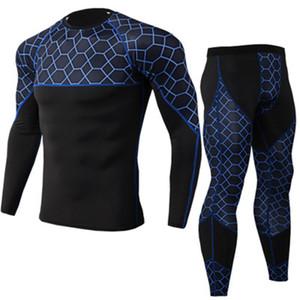 2019 Yeni Marka Spor Salonları Vücut Geliştirme Setleri erkek MMA Sıkıştırma gömlek + pantolon Spor Kamuflaj Moda Sıkı Spor mens Setleri