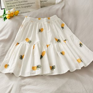 2020 Summer Sweet Girl Hipster Pineapple Embroidered Elastic Waist Skirt A-line Skirts Women