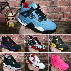 4 retro Vente gros Enfants Garçon Filles Enfants chaussures de designer 4 chaussures de basket-ball Chaussures de sport en plein air Gym Red Chicago 4s luxe baskets