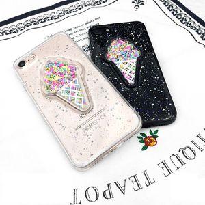 Güzel 3D Dondurma Telefon Kılıfı iPhone XS Max XR 6 6S 7 8 Artı Parlayan Glitter Toz Sof TPU Anti-şok Arka Kapak