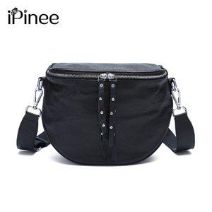 iPinee 2020 Yeni Kadın Çantası% 100 Gerçek Deri Yuvarlak Moda Lady Omuz Çantaları Yüksek Kalite Siyah Kahverengi