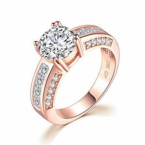 modo delle donne europee e americane anello di fidanzamento zircone Rosa placcati oro Accessori esplosive