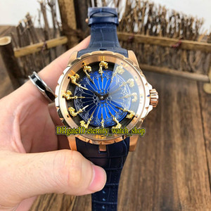 10 컬러 럭셔리 원탁 III 자동 남성 시계 로즈 골드 케이스 가죽 스트랩 스포츠 시계의 새로운 엑스 칼리버 45 RDDBEX0511 기사