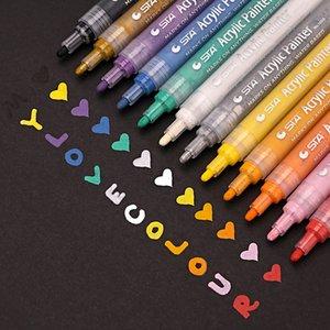 12 الملونة الاكريليك الطلاء ماركر القلم رسم اللوحة القرطاسية صياغة للسيراميك الصخور الزجاج الخزف قماش بطاقة عيد الميلاد T200416