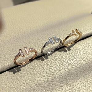 Avec LOGO et boîte d'origine en argent sterling 925 anneaux concepteur T diamant BAGUE anillos des femmes des fiançailles de mariage Lovers cadeau bijoux de luxe