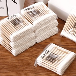 100pcs Double Head Cotton Swab Tampon Baby Tampon Cotton Ball Remover Makeup Cotton Swab Stick Free Shipping HL0701
