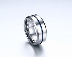 Vente en gros-Fashion mince ligne bleue tungstène anneau de mariage 8MM carbure de tungstène anneaux inoxydable pour les hommes Bijoux