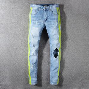 Мужские джинсы Brand Jeans Одежда Balmain джинсы Off Road Panther Black Soldier Mens Denim Тонкий прямой Байкер Hole дизайнер Hip Hop мужской джинсовой