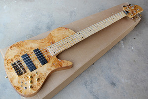 Factory Custom Natural Wood Color 5-string Electric Bass Guitar with Neck-Thru-Body,Maple Fingerboard,Gold Hardwares,Offer Customized