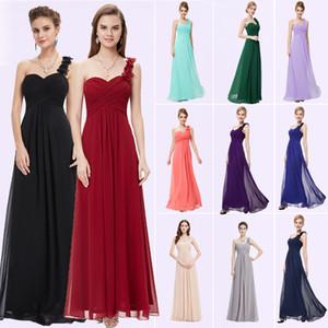 Evening Dresses Ever Pretty EP09768 Flowers Long Blue Padded Big Size Women Flower Black Chiffon 2019 Formal Dress for Wedding T200604