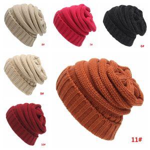 Sombrero de punto de adultos hombres de las mujeres caliente suave lana de invierno de punto de ganchillo sombreros de moda al aire libre Beanies Caps Slouchy Skullies gorritas DBC BH2619