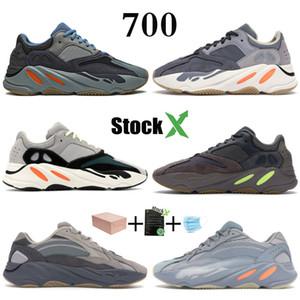 Corridore dell'onda 700 Kanye West carbonio Teal Blu Magnet Solid Scarpe Grey Desiger Ospedale Blu inerzia V2 Statico Black Men correnti delle donne della scarpa da tennis