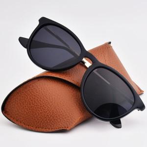 Womens Daha İyi Kahverengi Vakaları için 1pcs Moda Yuvarlak Erika Güneş Gözlük Güneş Gözlükleri Marka Tasarımcı Black Metal Çerçeve polarize Lensler