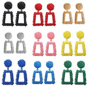 10 colores bohemio geométrica pendientes pendientes de gota para las mujeres Vintage Metal oro grande largo mujer cuelga los pendientes joyería de moda a granel