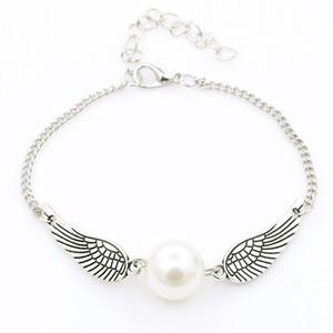 Engelsflügel Charme Armband Zarte Taube simuliert Perlenarmband