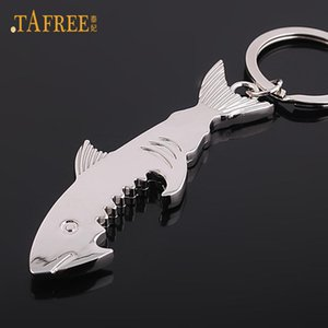 Chains TAFREE shark bottle opener chain zinc alloy multifunction fish corkscrew key chain jewelry gift key cover factory promotion
