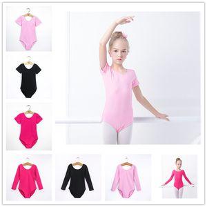 Kids Gymnastics Leotard Short or long Sleeve Children Dance Costumes Latin Ballet Dance Bodysuit Children's Exercise Clothe Solid Color 2019