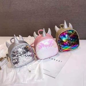 3 색 패션 유니콘 만화 여자 백팩 장식 조각이 여자 가방 귀여운 어린이 가방 아이 PU 가방 핑크 주말 가방