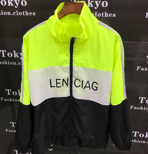 Três cores de costura solta casual gola de cor combinando casaco de desporto jaqueta fina cor contraste jaqueta casaco homens mulheres casal jaqueta 2019 novo