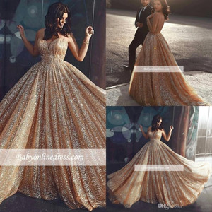 2019 Gorgeous Sparkly Lentejuelas Vestidos de noche Vestido de fiesta de oro Vestido de fiesta formal Vestido de noche largo Vestidos por encargo BC1457