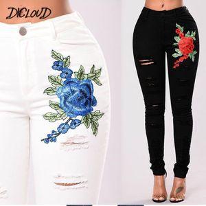 DICLOUD Черный Белый Hole Вышитые Джинсы женские модные узкие джинсы женщина Vintage высокой талией плюс размер джинсовые брюки