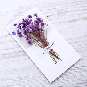 500pcs Real Dried Flowers Greeting Card DIY Retro Kraft Paper Hand -Dried Flowers Greeting Cards Creative Flowers