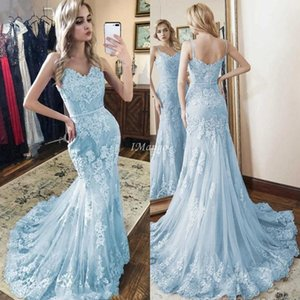 2020 Mermaid Evening Dresses Spaghetti Straps Lace Appliques Zipper Back Sky Blue Arabic Formal Prom Party Gowns Sweep Train Robe Soriee